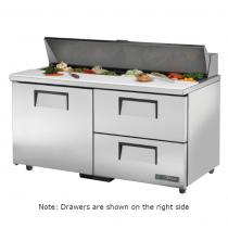 "True TSSU-60-16D-2-ADA-HC 60 3/8"" ADA Height One Door Sandwich / Salad Prep Refrigerator with 2 Shelves, 2 Left Drawers, 16 Pans with Hydrocarbon Refrigerant - 115V"