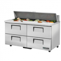 "True TSSU-60-16D-4-ADA-HC 60 3/8"" Four Drawer ADA Height Sandwich / Salad Prep Refrigerator with 16 Pans and Hydrocarbon Refrigerant - 115V"