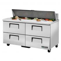 "True TSSU-60-16D-4-HC 60 3/8"" Four Drawer Sandwich / Salad Prep Refrigerator with 16 Pans and Hydrocarbon Refrigerant - 115V"
