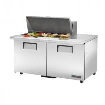 "True TSSU-60-18M-B-ADA-HC 60 3/8"" Mega Top Two Door ADA Height Sandwich / Salad Prep Refrigerator with 4 Shelves, 18 Pans and Hydrocarbon Refrigerant - 115V"