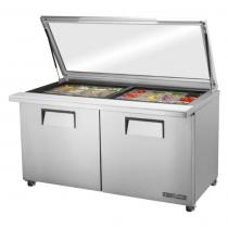 "True TSSU-60-24M-B-ST-FGLID-HC 60 3/8"" Two Door Mega Top Sandwich / Salad Prep Refrigerator with Glass Lid, 24 Pans and Hydrocarbon Refrigerant - 115V"