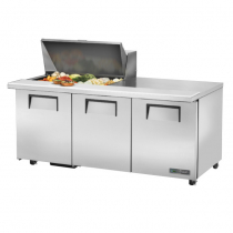 "True TSSU-72-15M-B-ADA-HC 72 3/8"" Mega Top Three Door ADA Height Sandwich / Salad Prep Refrigerator with 6 Shelves, 15 Pans and Hydrocarbon Refrigerant - 115V"