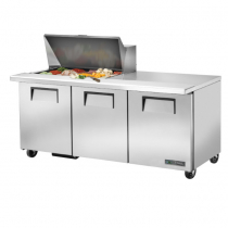 "True TSSU-72-15M-B-HC 72 3/8"" Mega Top Three Door Sandwich / Salad Prep Refrigerator with 6 Shelves, 15 Pans and Hydrocarbon Refrigerant - 115V"