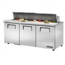 "True TSSU-72-18-ADA-HC 72 3/8"" Three Door ADA Height Sandwich / Salad Prep Refrigerator with 6 Shelves, 18 Pans and Hydrocarbon Refrigerant - 115V"