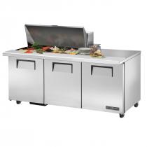 "True TSSU-72-18M-B-ADA-HC 72 3/8"" Mega Top Three Door ADA Height Sandwich / Salad Prep Refrigerator with 6 Shelves, 18 Pans and Hydrocarbon Refrigerant - 115V"