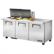 "True TSSU-72-18M-B-HC 72 3/8"" Mega Top Three Door Sandwich / Salad Prep Refrigerator with 6 Shelves, 18 Pans and Hydrocarbon Refrigerant - 115V"