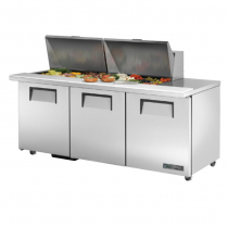 "True TSSU-72-24M-B-ST-ADA-HC 72 3/8"" Mega Top Three Door ADA Height Sandwich / Salad Prep Refrigerator with 6 Shelves, 24 Pans and Hydrocarbon Refrigerant - 115V"