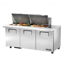"True TSSU-72-24M-B-ST-HC 72 3/8"" Three Solid Door Mega Top Sandwich/Salad Prep Refrigerator with 6 Shelves, 24 Pans and Hydrocarbon Refrigerant - 115V"