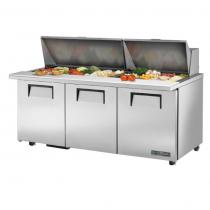 "True TSSU-72-30M-B-ST-ADA-HC 72 3/8"" Three Solid Door Mega-Top ADA Sandwich/Salad Prep Refrigerator with 6 Shelves, 30 Pans and Hydrocarbon Refrigerant - 115V"