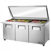 "True TSSU-72-30M-B-ST-FGLID-HC 72 3/8"" Mega Top Three Door Sandwich / Salad Prep Refrigerator With Glass Lid, 6 Shelves, 30 Pans and Hydrocarbon Refrigerant - 115V"