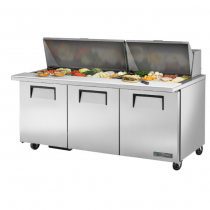 "True TSSU-72-30M-B-ST-HC 72 3/8"" Mega Top Three Door Sandwich / Salad Prep Refrigerator with 6 Shelves, 30 Pans and Hydrocarbon Refrigerant - 115V"