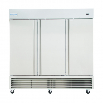 """Empura E-KB81F 81"""" Reach In Bottom-Mount Stainless Steel Freezer With 3 Full-Height Solid Doors - 72 Cu Ft, 115/208-230 Volts"""
