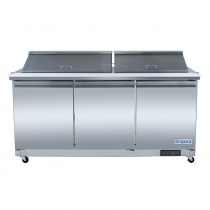 """Empura E-KSP72M 72"""" MegaTop Sandwich/Salad Table Refrigerator Stainless Steel With 3 Solid Doors, 27 Pans And 9"""" Cutting Board - 18 Cu Ft, 115 Volts"""
