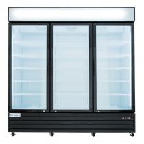 """Empura EGM-75B 78.2"""" Black Swinging Glass Door Merchandiser Refrigerator With 3 Doors, 75 Cubic Ft, 115 Volts"""