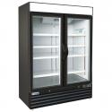 "Empura E-EGM-48FB Black 53 9/10"" Wide 2-Section Insulated Triple-Pane Self-Closing Glass Door Freezer Merchandiser, 115V"