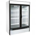 "Empura E-EGM-48FW White 53 9/10"" Wide 2-Section Insulated Triple-Pane Self-Closing Glass Door Freezer Merchandiser, 115V"