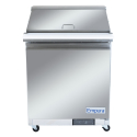 """Empura E-KSP29M 28.9"""" Mega Top Sandwich/Salad Table Refrigerator 12 Pan, 1 Solid Door, Stainless Steel  And 9"""" Cutting Board - 7 Cu Ft, 115 Volts"""