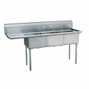 "Empura EMFC-3-1818L Stainless Steel 3 Compartment Commercial Sink with 1 Left Side Drainboard, 18"" x 18"" x 11"" Bowls"