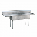 "Empura EMFC-3-1824LR Stainless Steel 3 Compartment Commercial Sink With 2 Drainboards, 18"" x 24"" x 14"" Bowls"