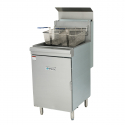 "Empura EMSF-70 21"" Commercial Single Standing Gas Fryer With 70 lb Capacity, 150,000 BTU - Natural Gas"