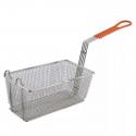 """Empura FBR-12651 Orange Handle 12 1/8"""" x 6 1/4"""" x 5 5/16"""" Fryer Basket With Front Hook"""